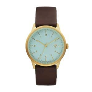 CHPO WATCH OROLOGIO QUADRANTE IN ACCIAIO QUADRANTE ACQUAMARINA CINTURINO IN PELLE VEGANA MARRONE BROWN UNISEX MOVIMENTO QUARZO MODELLO RAWIYA TAGLIA UNICA ONE SIZE
