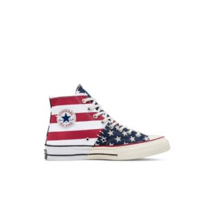 ALL STAR CONVERSE CHUCK 70 ARCHIVE RESTRUCTURED HIGH TOP SNEAKERS SCARPA UOMO DONNA AMERICAN BANDIERA AMERICANA MULTICOLOR STELLE E STRISCE STAR AND STRIPES BLACK WHITE RED BIANCO NERO ROSSO 166426C TAGLIA SIZE 40 41 42 42,5 43 44 45