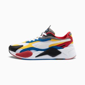 PUMA SNEAKERS RS-X3 PUZZLE TRAINERS SCARPA UOMO DONNA MULTICOLOR OFF BIANCO NERA ROSSA GIALLA BLU ELETTRICO WHITE BLACK YELLOW RED BLU ELECTRIC 371570 04 TAGLIA SIZE 40 41 42 43 44 45
