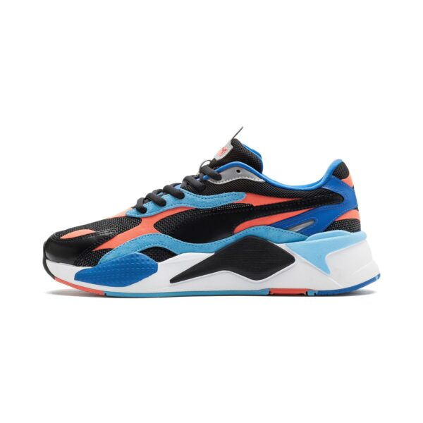 PUMA SNEAKERS RS-X3 LEVEL UP TRAINERS SCARPA UOMO DONNA MULTICOLOR BIANCO NERA ARANCIONE BLU ELETTRICO WHITE BLACK BLU ELECTRIC ORANGE 373169 02 TAGLIA SIZE 40 41 42 43 44 45