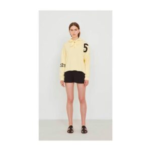5PREVIEW 5 PREVIEW FELPA SWEATER HOODIE CAPPUCCIO STAMPATA PRINTED WOMAN DONNA OVER FIT YELLOW PASTEL GIALLO PASTELLO TAGLIA XS S M L W353 ADEN