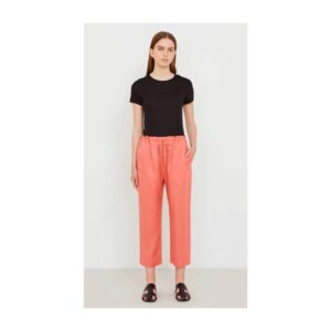 5PREVIEW 5 PREVIEW PANTS PANTALONE SPORT COULISSE ELASTICO IN VITA CON TASCA DIETRO BACKCWOMAN DONNA OVER FIT PAPAYA CORALLO TAGLIA XS S M L W286 CELINE