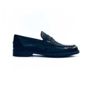 DANIELE ALESSANDRINI MOCASSINO INTRECCIATO CLASSIC SPORT SPORTIVO ELEGANCE ELEGANTE NERO BLACK VINTAGE PELLE LEATHER VITELLO SHOES SIZE 39 40 41 42 43 44 45 MADE IN ITALY f708kl1634002 col.1