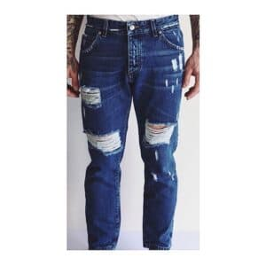JEANS CON ROTTURE DA.D PROJECT DENIM DESTROYED STRAPPI UOMO MAN SCURO MADE IN ITALY QUALITY DAD PROJECT STREETSTYLE REGULAR FIT ALLA CAVIGLIA