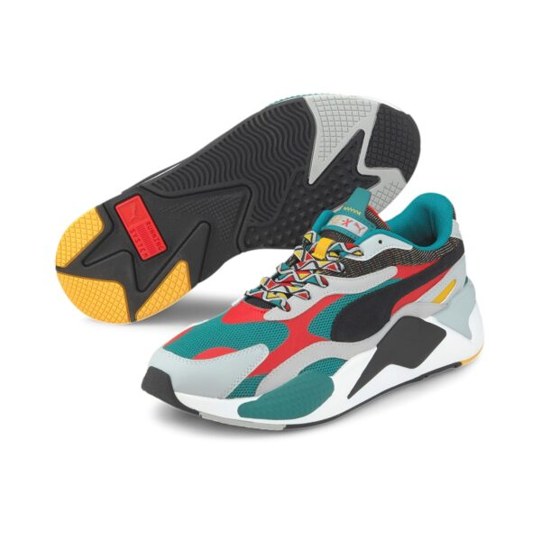 PUMA SNEAKERS SCARPA GINNICA UNISEX UOMO DONNA WOMAN MAN RS-X3 AFROBEAT MIX 373183-02 GREEN WHITE BLACK RED ROSSO NERO VERDE BIANCO