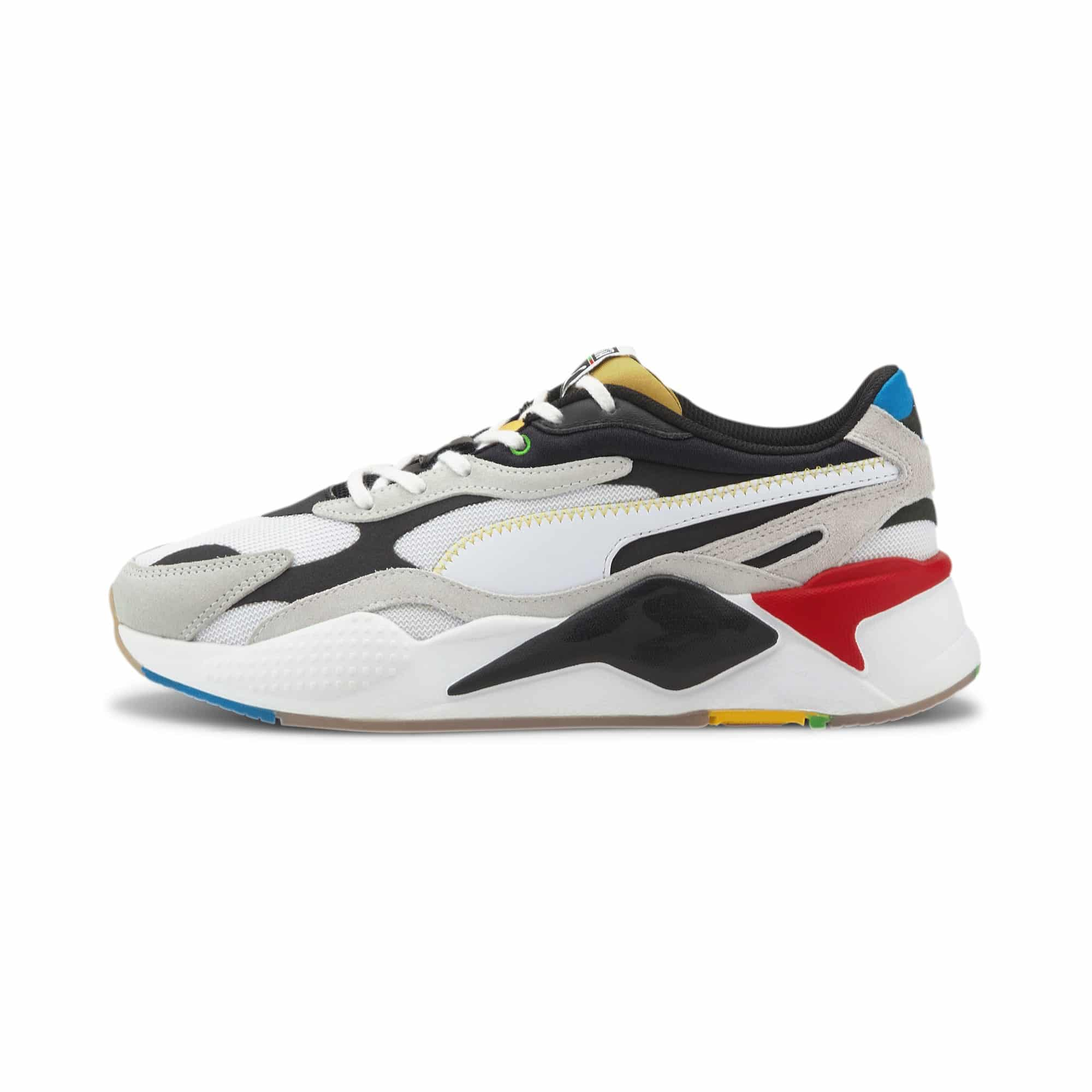 PUMA SNEAKERS RS-X THE UNITY COLLECTION SCARPA UOMO DONNA MULTICOLOR OFF BIANCO NERA ROSSA GIALLA WHITE BLACK YELLOW RED ARTICOLO 373308 01 TAGLIA SIZE 40 41 42 43 44 45