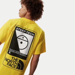 -THE-NORTH-FACE-UOMO-WOMAN-MAN-UNISEX-UOMO-DONNA-BLACK-NERO-YELLOW-GIALLO-BIANCO-WHITE-STAMPA-PRINT-T-SHIRT-TEE-STEEP-TECH-SCOTT-SCHMIDT-SNOW-NEVE-MOUNTAIN-TG-XS-S-M-L-XL-